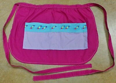 Native American Made Patchwork Apron 2 Pockets Magenta Waist Tied Used