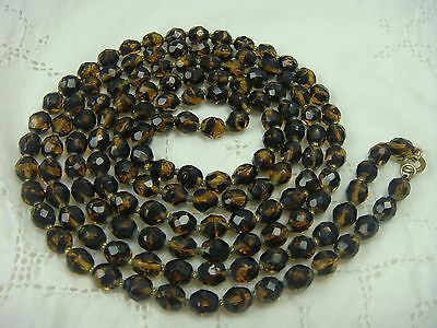 "Vintage 52"" Knotted Faceted Root Beer Crystal Glass Bead Art Deco Necklace"