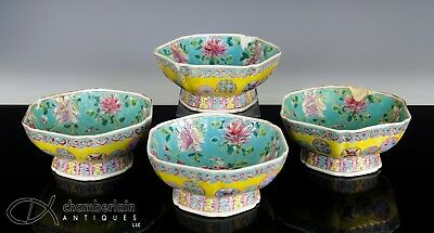 Lot Of 4 Antique Chinese Yellow Glazed Porcelain Bowls With Roundels
