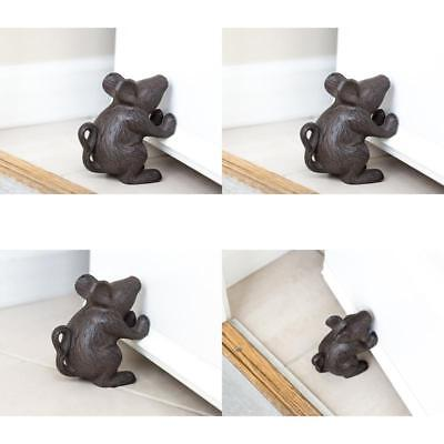 Decorative Door Stopper Cast Iron Mouse Rustic Home Furniture Vintage Brown New