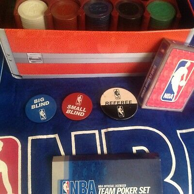 NBA 200 Chip Poker Set with Collector's Tin with Cards, Felt New