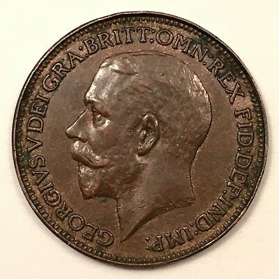 1925 Great Britain Farthing, George V. Clean surfaces. Sharp details. AU