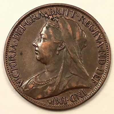 """1901 Great Britain Farthing, Victoria """"Veiled Head"""", Rare well-struck, Last year"""