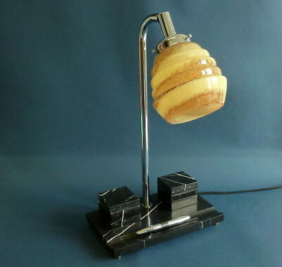 Art deco desk lamp with inkwell