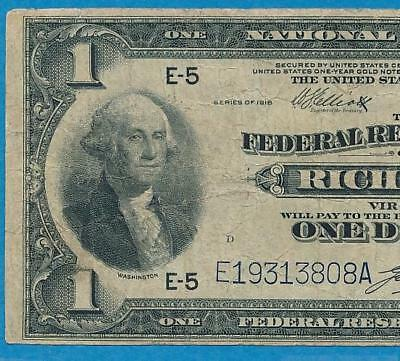 $1.00 1918 Fr.722  Richmond  Federal Reserve Banknote Vf  Large Eagle Reverse