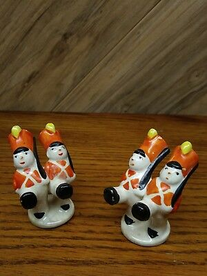"""2 Occupied Japan Toy Soldier miniature figurines christmas village decor 2"""" tall"""