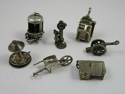 Charms Vintage Silver - Lot of 7 - Antiques Old Gadgets Furniture Fun 20.3 G