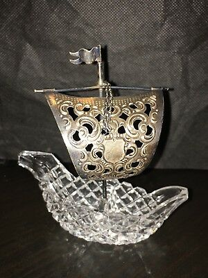 Crystal and Sterling Silver Salt Cellar with Spoon, Sailboat and Anchor