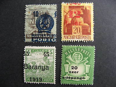 Hungary 4 shifted overprints or values errors, mixed condition. Part 2