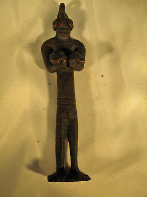 Older African Female FERTILITY FIGURE Holding Large BREASTS. Maybe amulet. NR