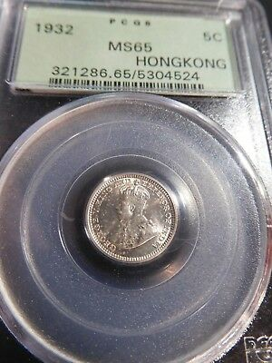 T31 Hong Kong 1932 5 Cents PCGS MS-65