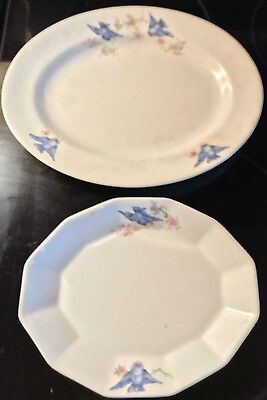 Vintage S.P.Co. Bluebird Pattern Platter and Serving Dish from Sebring, Ohio