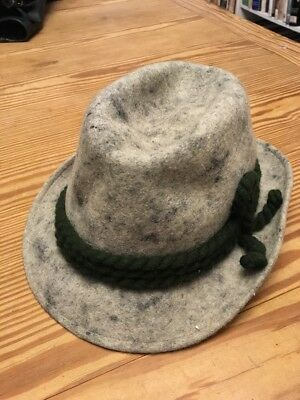 Vintage Gray Wool Tyrolean Hat Size 60 (7.5) Very good condition