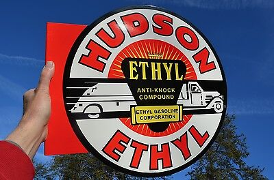 Old Style Hudson Ethyl Old Truck Gas & Oil Thick Steel Flange Sign Usa Made