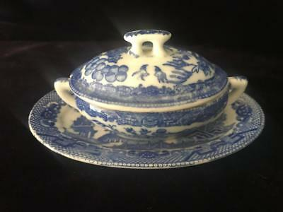 Blue Willow Japan Childs Miniature Covered Dish with Platter