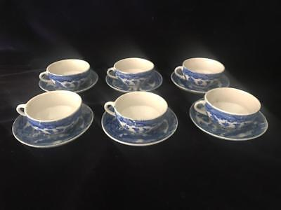 Vintage Blue Willow Japan Miniature Cup and Saucer Set of 6 (12 pc)