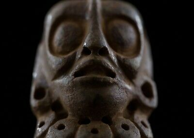 Pre columbian Art Mayan Carved Stone Bead-Private Collection- Olmec Aztec