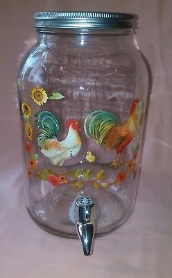 Vintage Sun Tea Glass Jar/Jug 1 Gallon Rooster/Chicken Decor w/ Spout