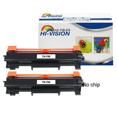 2 pk TN760-NoChip Toner Cartridge for Brother MFC-L2710DW MFC-L2750DW Printer