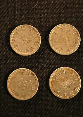 4 Japanese WW2, 1 Sen Coins Dated 1940, 1941, 1942 & 1943