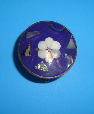 Pill Box nickle silver with blue top with inlaid flowers, L. Paco Mexico