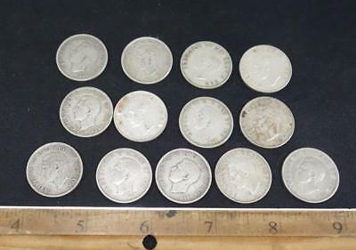Canada 25 Cents Lot of 13 Silver Coins 1938 - 1951 !