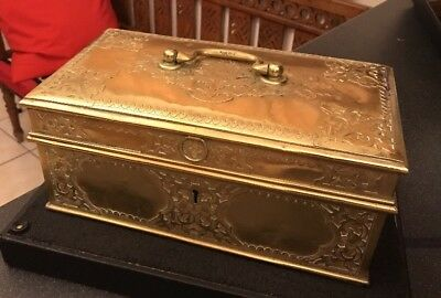Antique Georgian ? Brass Table Casket Writing Box Decorative Chased Panels