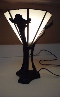 Antique Art Deco Table Desk Lamp Cast Iron Angels Slag Glass Inverted Shade