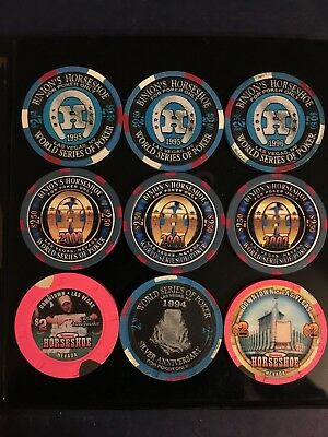 Binion's Horseshoe $2.50 Gallery Of Champions Chip lot with $2 chips Las Vegas