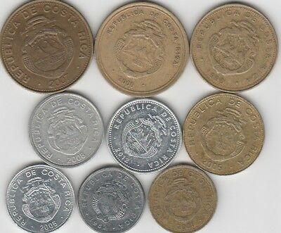 9 different world coins from COSTA RICA