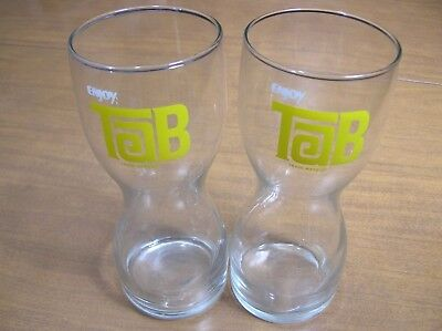 1 Vintage 1970's Enjoy Tab Cola Hourglass Drinking Glasses Yellow Tab