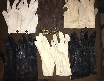 Ladies Gloves Vintage, Lot Of 6 Pair, Short Length, Size 7, S/M