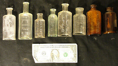 Lot 8 Antique Medicine / Glass Bottles From 1800s Early 1900s No Reserve