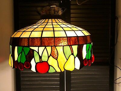 Vintage Leaded Stained Glass With Fruits ,hanging Lamp Ideal For Kitchen,