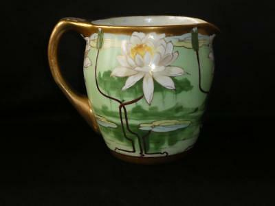 Antique  Pickard Hand Painted Porcelain Pond Lily Pitcher Artist Signed Keates