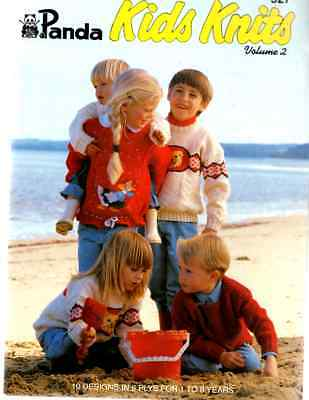 Knitting Pattern Book Panda #527 Kids Knits 10 designs 8 ply aran cable picture