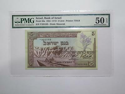Bank Of Israel 1955 5 Lirot Pmg Graded World Banknote Collection Lot