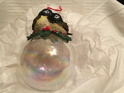 "Charming Tails Chickadees On Ball~1992 Silvestri Ornament"" Woodland Collection"