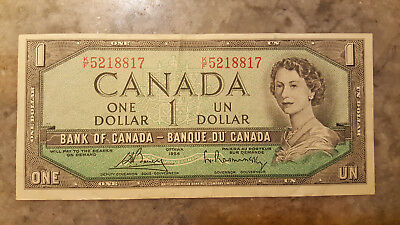 1954 - Canada $1 bank note -Canadian one dollar bill  in VF+ condition