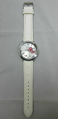 Hello Kitty Girls Ladies Watch White Leather Band Rhinestones Stainless Steel