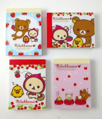 San-x Rilakkuma Strawberries Mini Memo Pad Lot Stationery Kawaii Japan
