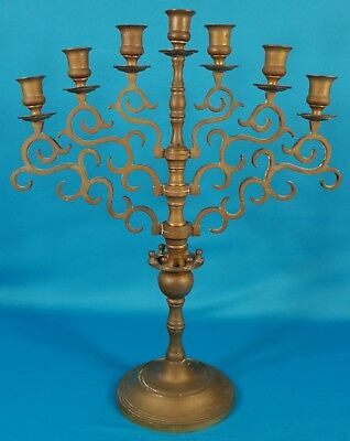 "Heavy Solid Brass Swing 7 Arms Candelabra Candle Holder 18 1/2"" Tall"