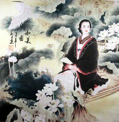 """Oriental Chinese Brush Painting Figures Ink Art-Beauty on the Boat Cranes 19x19"""""""
