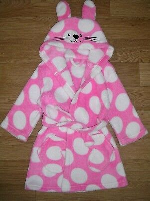 GEORGE Girls Pink Fluffy Fleece Bunny Dressing Gown RABBIT Bathrobe Age 18-24m