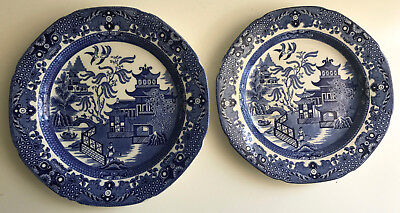 burleigh ware 2x plates 21.25 cms 23.5 cms england Willow blue & white