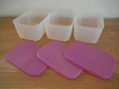 3 Vintage Clear Plastic Lidded Number 2283C Tupperware Box 700 ml Containers.