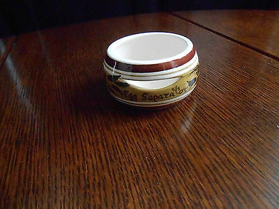 POTTERY EGG SEPARATER. DESIGNED +HAND PAINTED BY TONI RAYMOND.APPROX.3 ins DIA