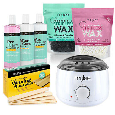Mylee Complete Waxing Kit Hard Stripless Flexible Wax Heater Hair Removal Set