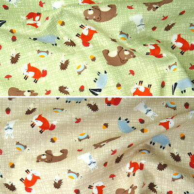 100% Cotton Poplin Fabric Rose Hubble Woodland Animals Forest Friends Material