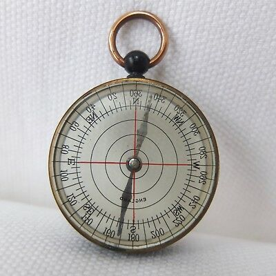 ANTIQUE VINTAGE POCKET CYCLISTS COMPASS TRANSPARENT MADE IN ENGLAND c.1890-1930